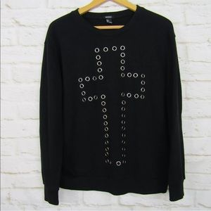 Forever 21 Black Sweatshirt S Cross Shirt S Holes